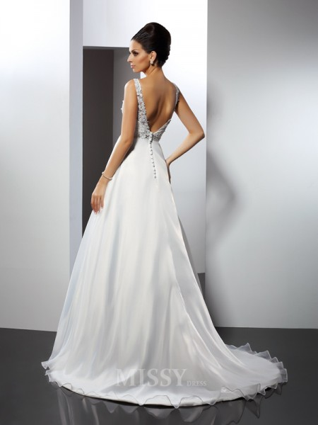 A-Line/Princess Scoop Chapel Train Satin Wedding Dress With Beading Ruffles