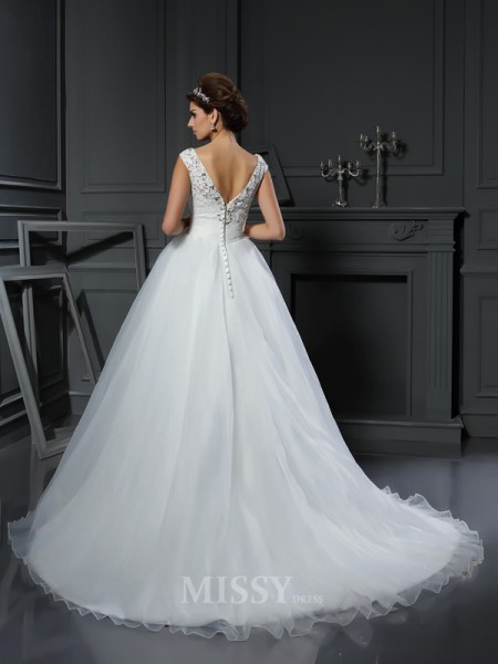 A-Line/Princess V-neck Organza Chapel Train Wedding Dress With Ruched