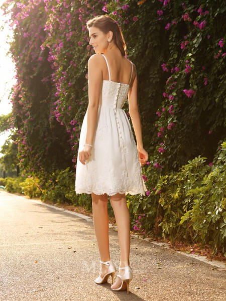 A-Line/Princess Knee-Length Spaghetti Straps Lace Wedding Dress With Pleats