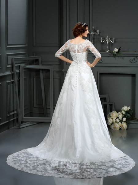 A-Line/Princess Bateau 1/2 Sleeves Lace Satin Court Train Wedding Dress With Ruffles