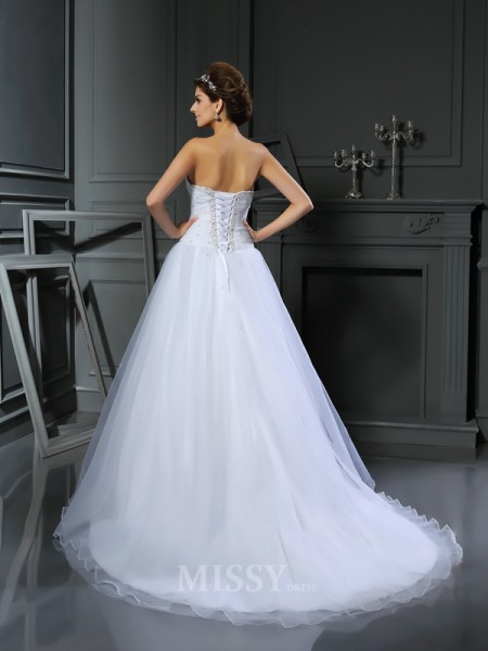 Ball Gown Sweetheart Satin Court Train Wedding Gown With Beading