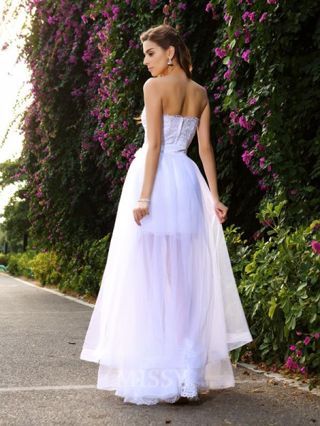 Trumpet/Mermaid Floor-Length Sweetheart Tulle Wedding Dress With Applique