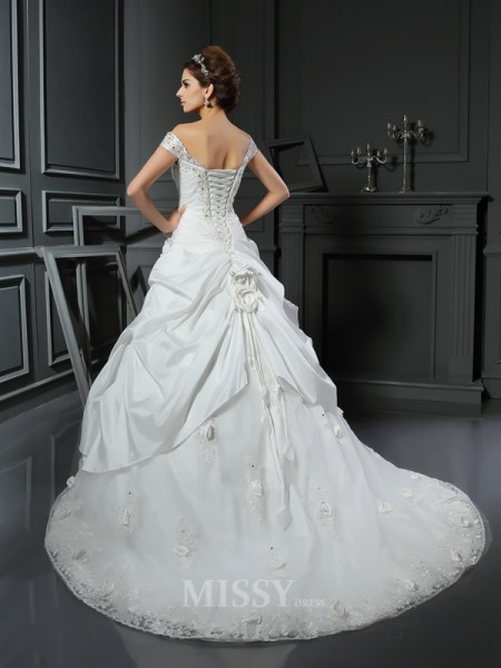 Ball Gown Off-the-Shoulder Hand-Made Flower Satin Chapel Train Wedding Dress With Ruched