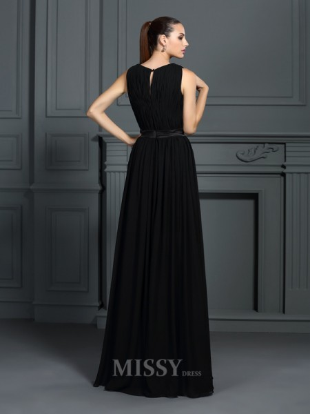 A-Line/Princess Scoop Floor-Length Chiffon Dress With Ruched Pleats