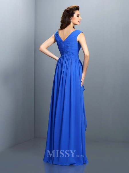 A-Line/Princess V-neck Pleats Beading Floor-Length Chiffon Dress With Ruched