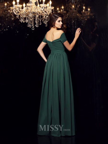 A-Line/Princess Off-the-Shoulder Chiffon Ruched Floor-Length Dress With Pleats
