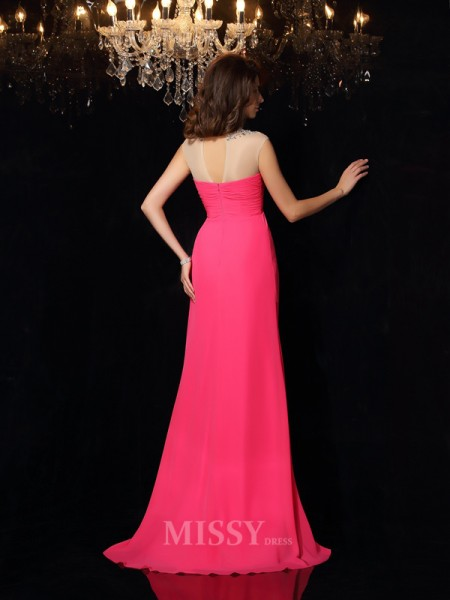 A-Line/Princess High Neck Chiffon Sweep/Brush Train Ruched Dress With Applique