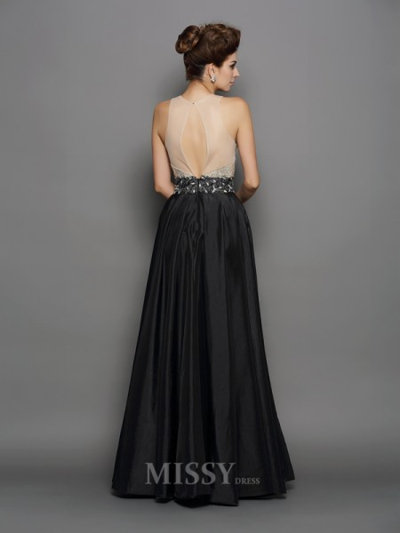 A-Line/Princess Taffeta High Neck Floor-Length Dress With Ruffles
