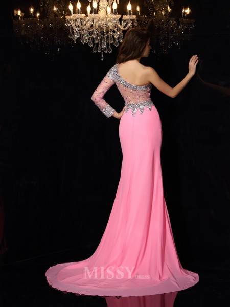 Sheath/Column One-Shoulder Long Sleeves Chiffon Court Train Dress With Embroidery