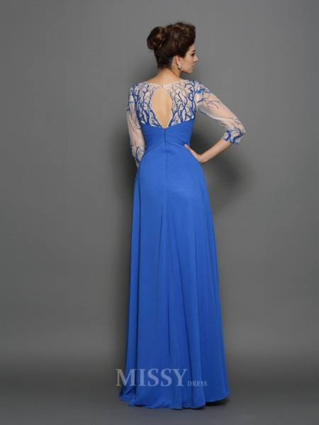 A-Line/Princess Scoop 1/2 Sleeves Applique Floor-Length Chiffon Dress With Sash