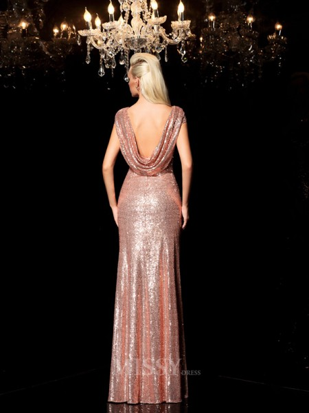Sheath/Column Scoop Sequin Floor-Length Sequins Dress With Beading