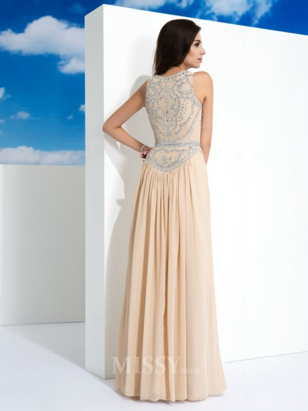 A-Line/Princess Scoop Floor-Length Chiffon Dress With Embroidery Beading