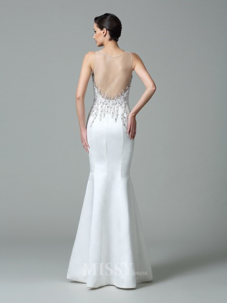Trumpet/Mermaid Sheer Neck Floor-Length Satin Dress With Beading Applique