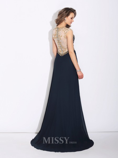 A-Line/Princess Jewel Sweep/Brush Train Chiffon Dress With Sash Beading