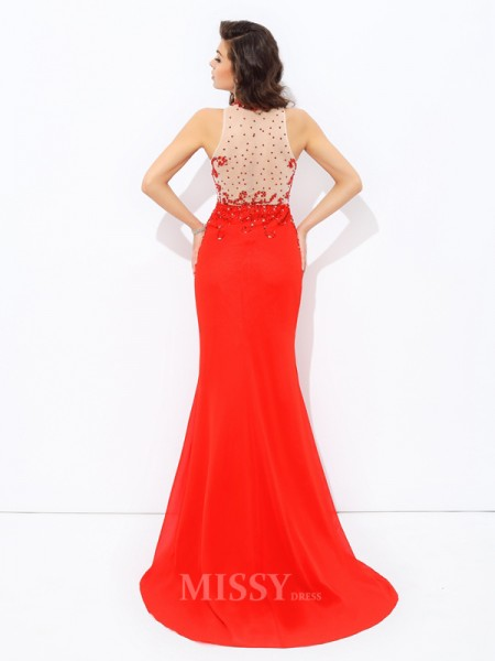 Sheath/Column Jewel Sweep/Brush Train Chiffon Dress With Beading
