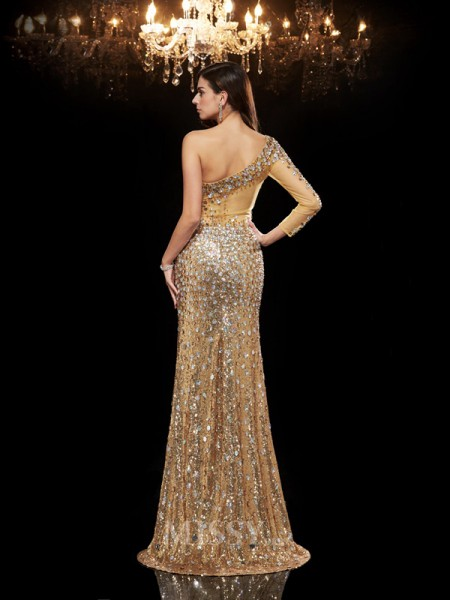 Trumpet/Mermaid One-Shoulder 3/4 Sleeves Sequins Floor-Length Dress With Pleats