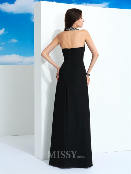 A-Line/Princess Halter Floor-Length Chiffon Dress With Pleats Beading