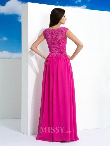 A-Line/Princess Sheer Neck Lace Floor-Length Chiffon Dress With Beading