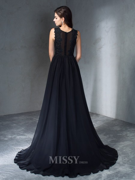 A-Line/Princess Scoop  Sweep/Brush Train Chiffon Dress With Embroidery Applique