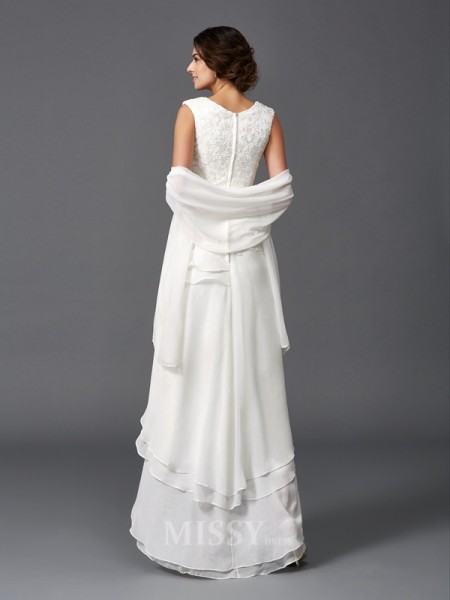 A-Line/Princess Scoop Lace Asymmetrical Chiffon Mother of the Bride Dress With Beading