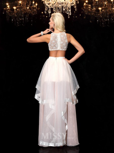 A-Line/Princess Scoop Floor-Length Tulle Dress With Beading Applique