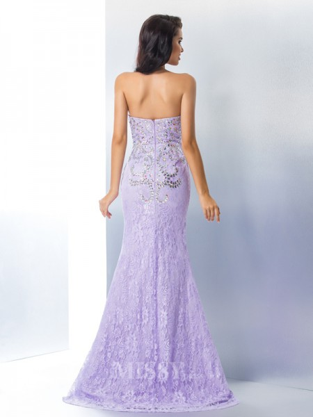 Trumpet/Mermaid Sweetheart Lace Sweep/Brush Train Gown With Sash