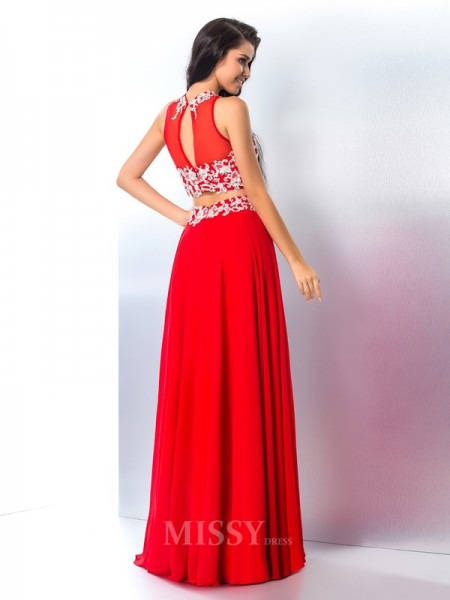A-Line/Princess Sheer Neck Chiffon Floor-Length Two Piece Gown Beading