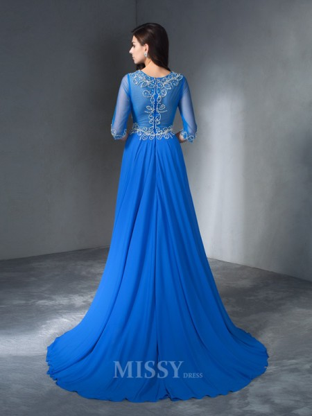 A-Line/Princess Scoop 1/2 Sleeves Sweep/Brush Train Chiffon Dress With Sequin