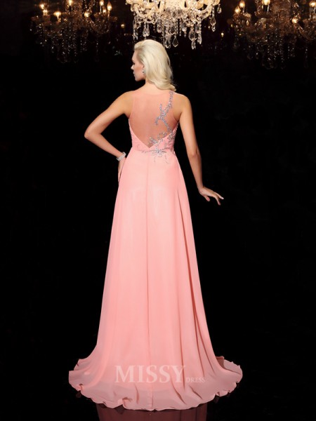 A-line/Princess Scoop Floor-Length Chiffon Dress With Sequin Beading