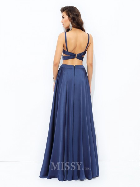 A-Line/Princess Straps Satin Chiffon Floor-Length Two Piece Dress With Applique