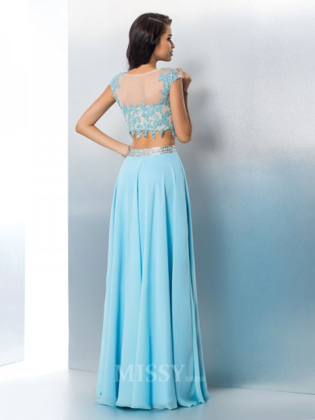 A-Line/Princess Short Sleeves Sheer Neck Chiffon Floor-Length Two Piece Dress With Beading Applique