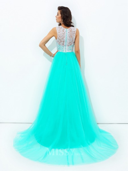 A-line/Princess Scoop Lace Sweep/Brush Train Net Dress With Ruched