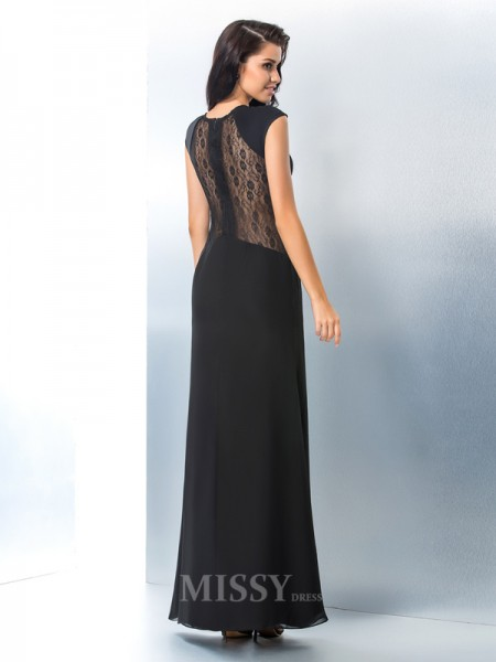 Sheath/Column Scoop Short Sleeves Lace Chiffon Ankle-Length Gown Pleats