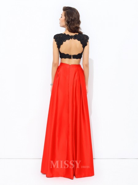 A-Line/Princess Scoop Floor-Length Satin Dress With Lace