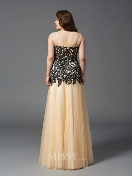 Sheath/Column Spaghetti Straps Floor-Length Net Plus Size Dress With Ruched Applique