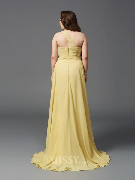 A-Line/Princess One-Shoulder Sweep/Brush Train Chiffon Plus Size Dress With Sash Rhinestone