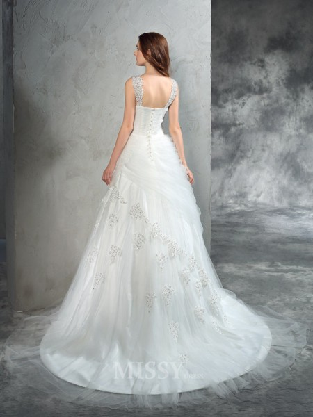 Ball Gown Straps Court Train Net Wedding Dress With Sash Applique