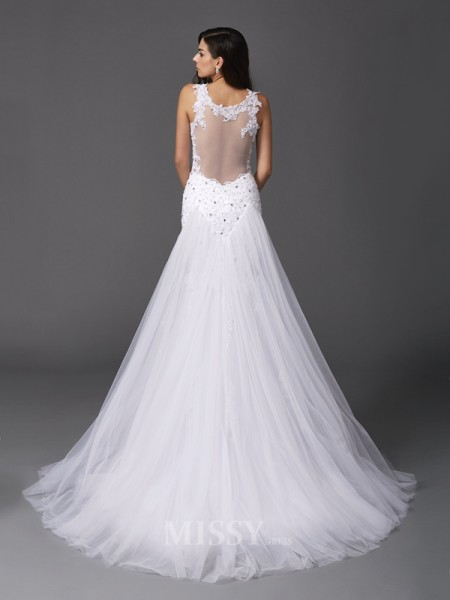 Trumpet/Mermaid Straps Sweep/Brush Train Wedding Dress With Lace Net