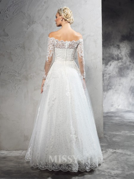Ball Gown Off-the-Shoulder Long Sleeves Lace Floor-Length Net Wedding Dress With Beading