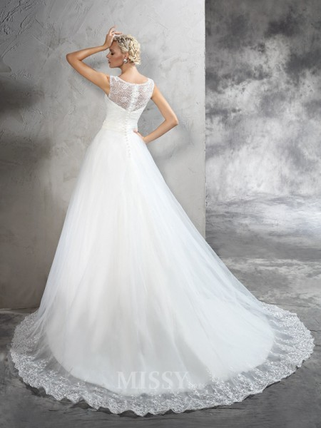 Ball Gown Sheer Neck  Court Train Net Wedding Dress With Sequin Sash/Ribbon/Belt