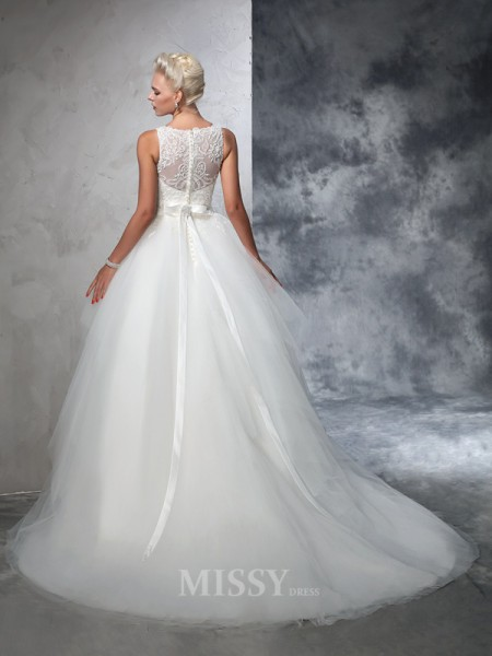 Ball Gown Bateau Net Chapel Train Wedding Dress With Sash Applique