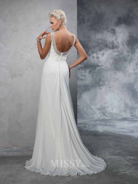 Trumpet/Mermaid Straps Chiffon Court Train Wedding Dress With Ruffles Ruched