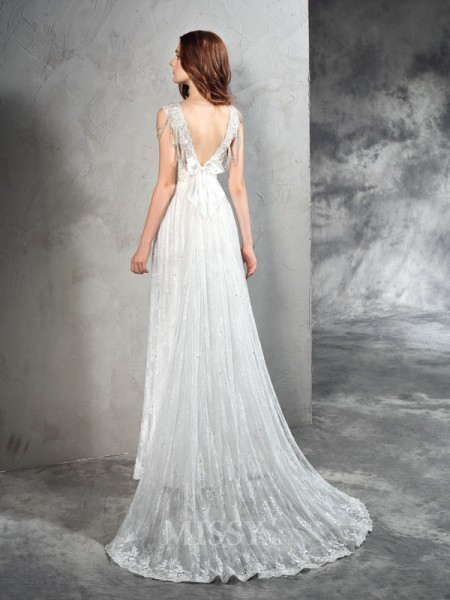 A-Line/Princess Straps Court Train Lace Wedding Dress With Beading Lace