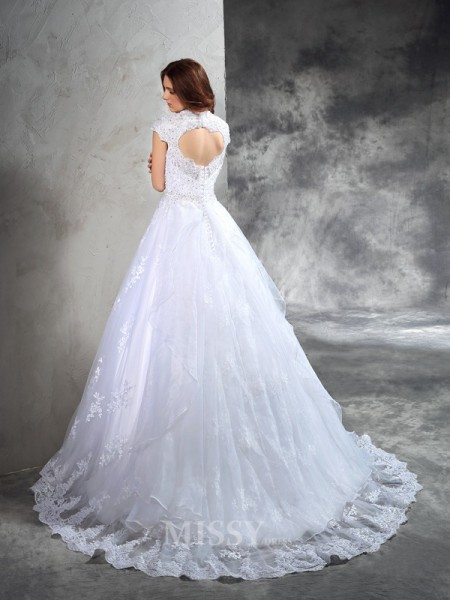 Ball Gown Sweetheart Court Train Organza Wedding Dress With Applique Lace