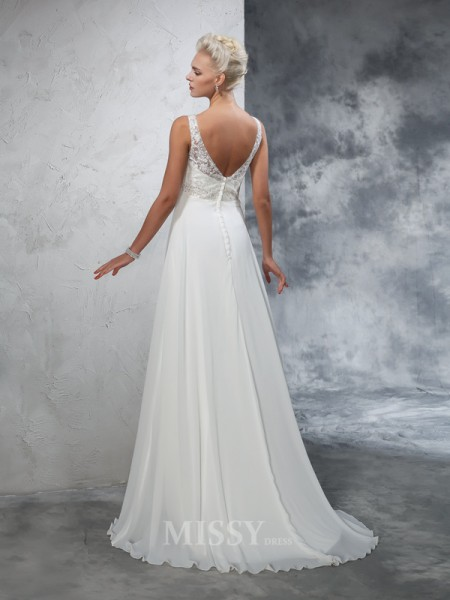 A-Line/Princess V-neck Chiffon Court Train Wedding Dress With Beading