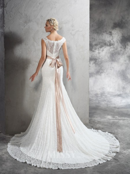 Sheath/Column Sheer Neck Belt Court Train Lace Wedding Dress With Sash