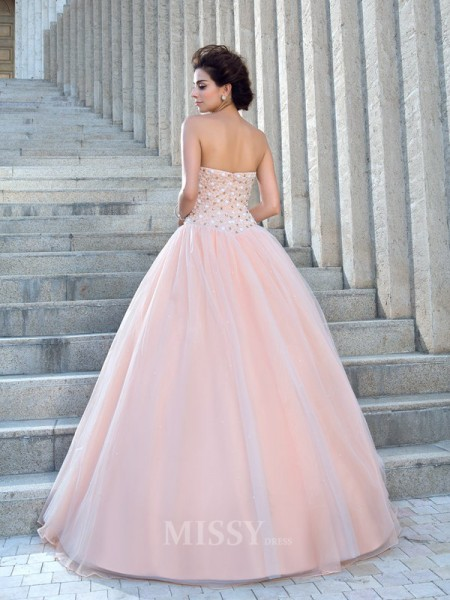 Ball Gown Strapless Satin Floor-Length Wedding Dress With Beading