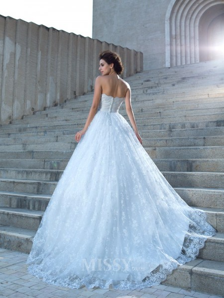 Ball Gown Sweetheart Lace Chapel Train Wedding Dress With Beading