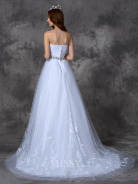 A-line/Princess Sweetheart Sweep/Brush Train Satin Wedding Dress With Beading