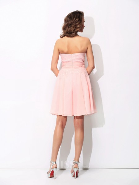 A-Line/Princess Sweetheart Mini Chiffon Bridesmaid Dress With Sequin Ruffles